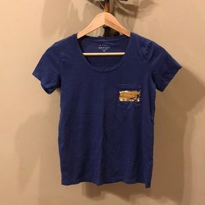 J Crew pocket tee with gold foil pocket